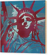 Statue Liberty - Pop Stylised Art Poster Wood Print by Kim Wang