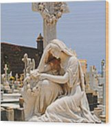 Statue Mourning Woman Wood Print
