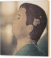 Statue Of A Boy Praying Wood Print