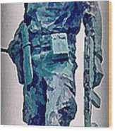 Statue Of An Old Revolutionary Cuban Wood Print