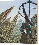 Statue Of Atlas Facing St.patrick's Cathedral Wood Print