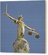 Statue of Lady Justice Wood Print