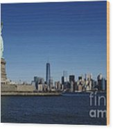 Statue Of Liberty And Manhattan Wood Print