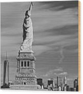 Statue Of Liberty And The Freedom Tower Wood Print