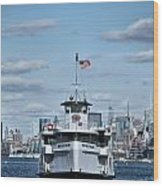 Statue Of Liberty Ferry Wood Print