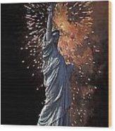 Statue Of Liberty Fireworks Wood Print