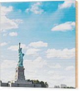 Statue Of Liberty On New York City Wood Print