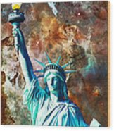 Statue Of Liberty - She Stands Wood Print