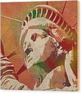 Statue Of Liberty Watercolor Portrait No 1 Wood Print