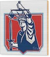 Statue Of Liberty Wielding Sword Scales Justice Wood Print
