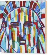 Statue Of Liberty With Colors Wood Print