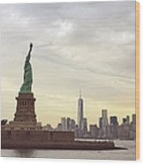 Statue Of Liberty With Manhattan Wood Print