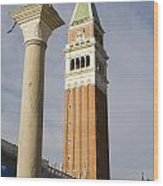 Statue Of Lion Of St. Mark And The San Marco Bell Tower Wood Print