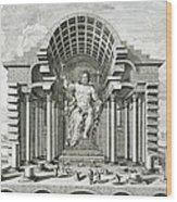 Statue Of Olympian Zeus Wood Print by Johann Bernhard Fischer von Erlach
