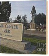 Statue Of Saint Clare Civic Center Park Wood Print