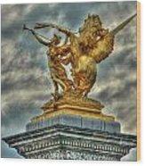 Statue On Pont Alexandre IIi Wood Print