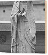 Statue Rosery Mary - Cemetery Sentry Wood Print