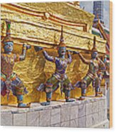Statues At A Temple, Wat Phra Kaeo Wood Print
