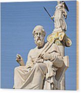 Statues Of Plato And Athena Wood Print