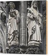 Statues Of The Aachen Cathedral Germany Wood Print