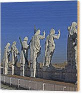 Statues On Facade Of St Peters Wood Print