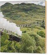 Steam Engine On Glenfinnan Viaduct Wood Print