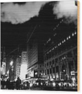 Steam Heat - New York At Night Wood Print
