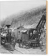 Steam Locomotive And Steam Shovel 1882 Wood Print by Daniel Hagerman