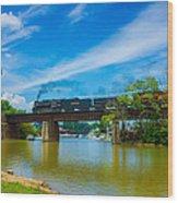 Steam Locomotive Crossing Bridge Wood Print