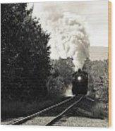 Steam On The Rails Wood Print