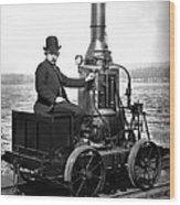 Steam Powered Rail Cart C. 1892 Wood Print