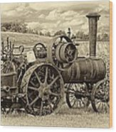 Steam Powered Tractor Sepia Wood Print