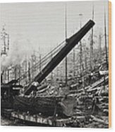 Steam Loader Loading Logs C. 1890 Wood Print