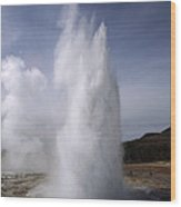 Steam Spews From Erupting Geysers Wood Print