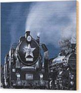 Steam Train In The Night Wood Print