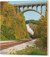 Steam Train Rounding The Curve Wood Print