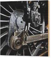 Steam Train Wheels Close Up Wood Print