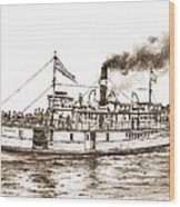 Steamboat Reliance Sepia Wood Print