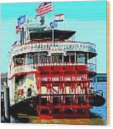 Steamer Natchez Paddleboat Wood Print