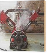 Steaming Red V Wood Print