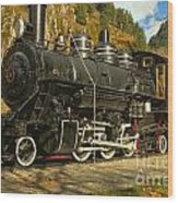 Steaming Through The Fall Wood Print