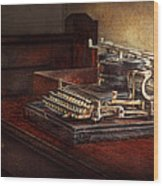 Steampunk - A Crusty Old Typewriter Wood Print by Mike Savad