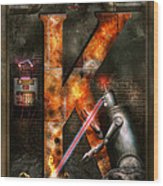 Steampunk - Alphabet - K Is For Killer Robots Wood Print