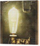 Steampunk - Alphabet - L Is For Light Bulb Wood Print
