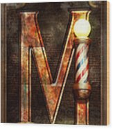 Steampunk - Alphabet - M Is For Mustache Wood Print