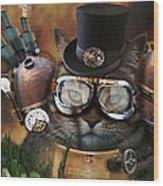 Steampunk Cat Wood Print