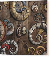 Steampunk - Clock - Time Machine Wood Print by Mike Savad