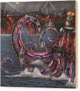Steampunk - Enteroctopus Magnificus Roboticus Wood Print by Mike Savad