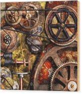 Steampunk - Gears - Inner Workings Wood Print by Mike Savad