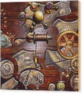 Steampunk - Gears - Reverse Engineering Wood Print by Mike Savad